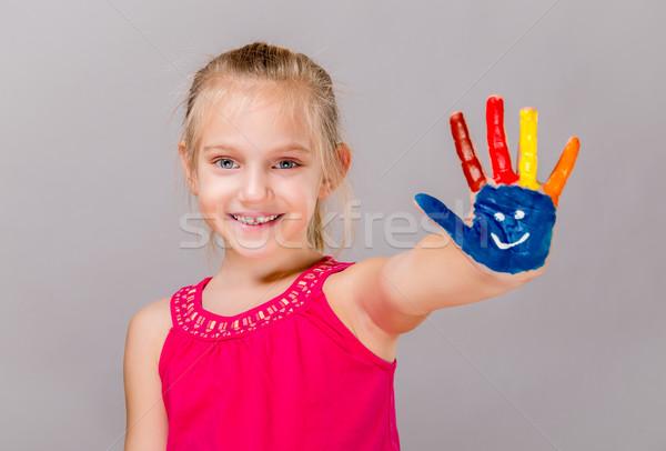 Coloré peint mains belle jeune fille main Photo stock © gabor_galovtsik