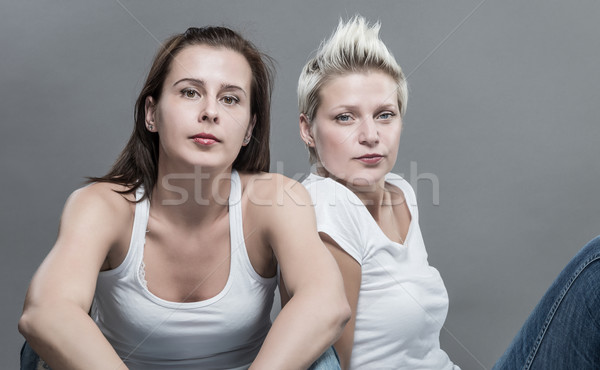 Deux belle femmes rire femme fille Photo stock © gabor_galovtsik