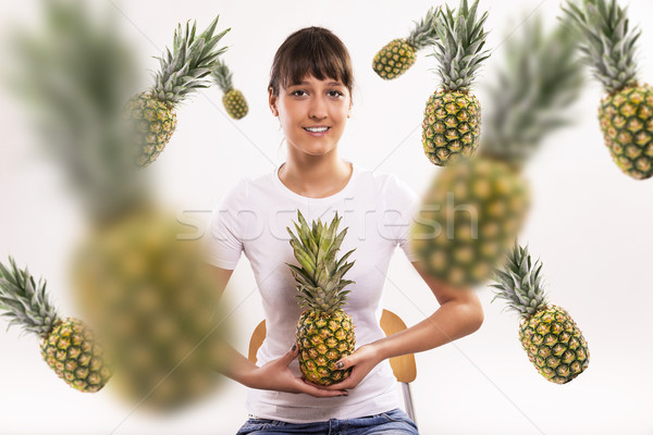Relevant ananas belle femme isolé photos Photo stock © gabor_galovtsik