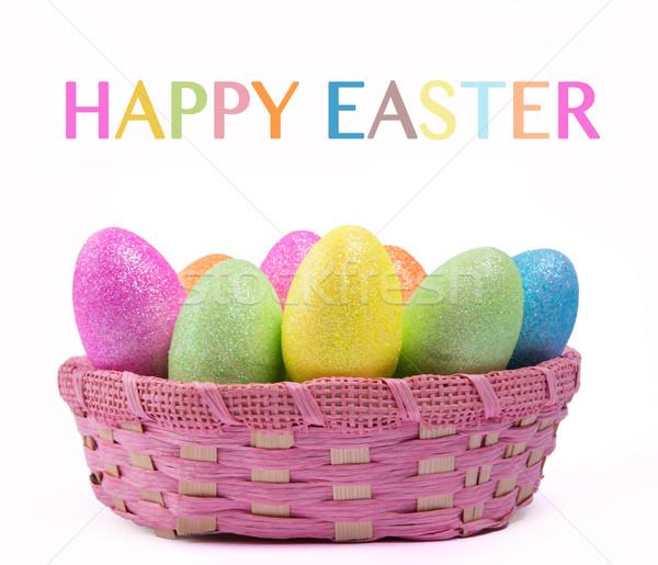 Пасху красочный пасхальных яиц корзины дизайна яйцо Сток-фото © gabor_galovtsik