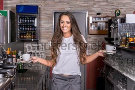 Serveuse souriant café café affaires Photo stock © gabor_galovtsik