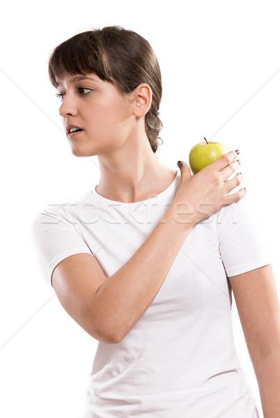 Pomme épaules isolé belle fille Photo stock © gabor_galovtsik