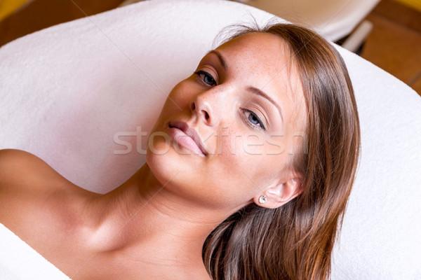 лице очистки веснушки женщину косметических лечение Сток-фото © gabor_galovtsik