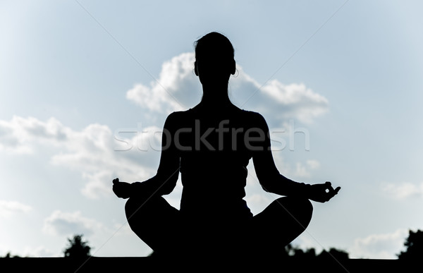 Yoga parque mujer bonita silueta hierba deporte Foto stock © gabor_galovtsik