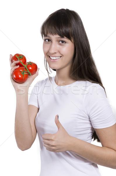 Belle femme tomates isolé parfait geste nature Photo stock © gabor_galovtsik