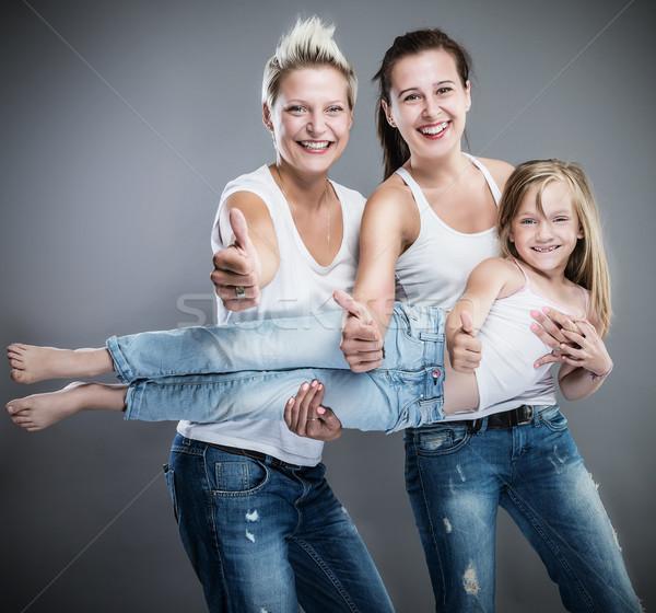 счастливым семьи женщины моде ребенка Сток-фото © gabor_galovtsik