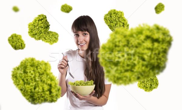 Salade saine femme blanche visage corps Photo stock © gabor_galovtsik