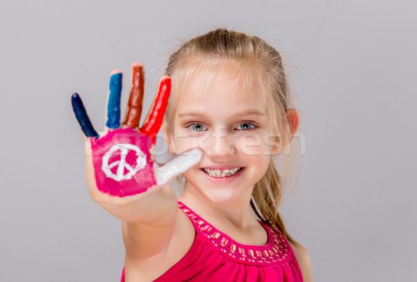 Geschilderd vrede teken kleurrijk mooie jong meisje Stockfoto © gabor_galovtsik