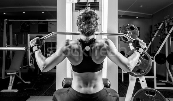 Femme de remise en forme fitness centre blanc noir photos femme Photo stock © gabor_galovtsik