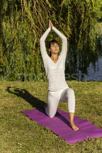 Yoga parc jolie femme nature corps fitness Photo stock © gabor_galovtsik