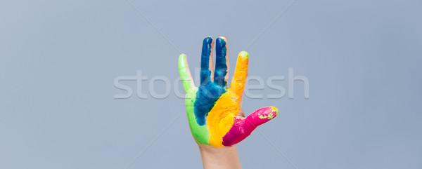 Stockfoto: Geschilderd · hand · kleurrijk · vingers · Blauw · glimlach