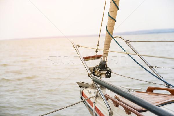 парусного закат роскошь яхта небе природы Сток-фото © gabor_galovtsik