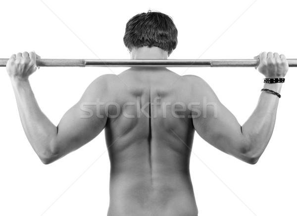 тяжелая атлетика спортивный молодым человеком мышцы назад Сток-фото © gabor_galovtsik