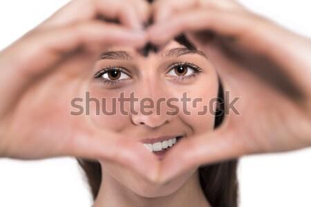 Forme de coeur femme souriante mains femme femmes Photo stock © gabor_galovtsik