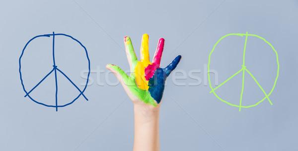 Stockfoto: Geschilderd · vrede · teken · meisjes · hand · oorlog