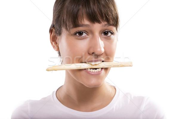 Asperges bouche isolé photos femme alimentaire Photo stock © gabor_galovtsik