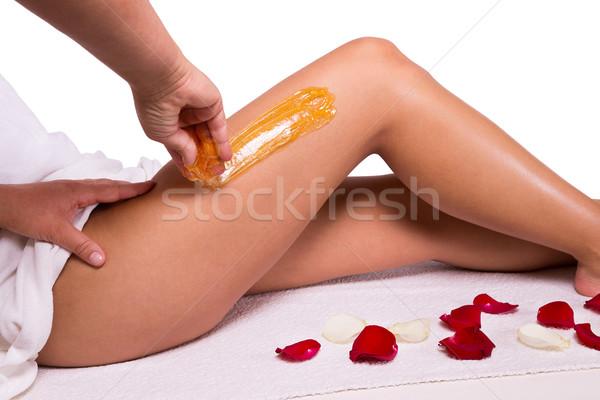 Cera tratamento raio pernas corpo Foto stock © gabor_galovtsik