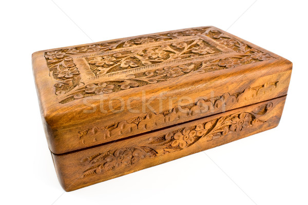 Wooden carved casket from India Stock photo © gavran333