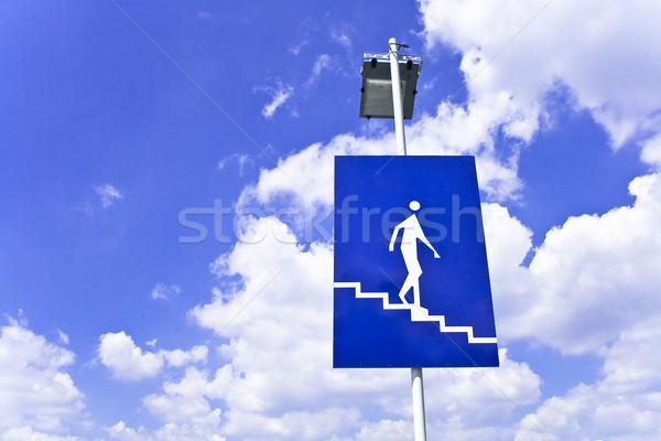Információ jel mutat lépcsősor kék ég égbolt absztrakt Stock fotó © gavran333