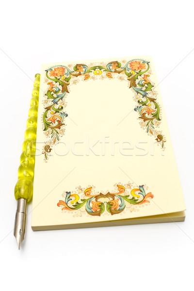 Gelb Notebook alten Stift isoliert weiß Stock foto © gavran333