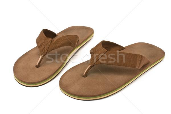 Pair of brown men's flip flop sandals Stock photo © gavran333
