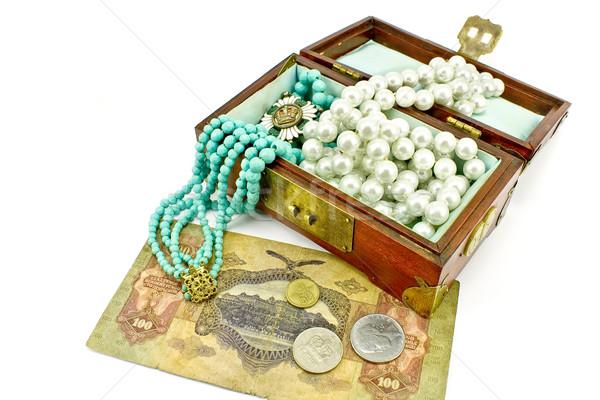 木製 宝石 お金 孤立した 白 ストックフォト © gavran333