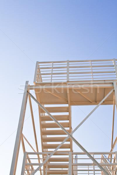 Branco escada pôr do sol blue sky metal Foto stock © gavran333