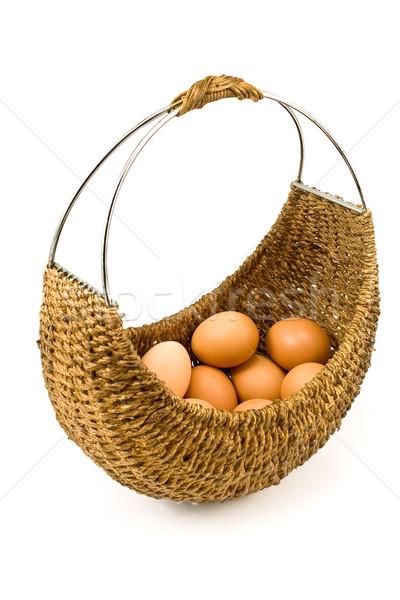 Woven basket full of eggs Stock photo © gavran333