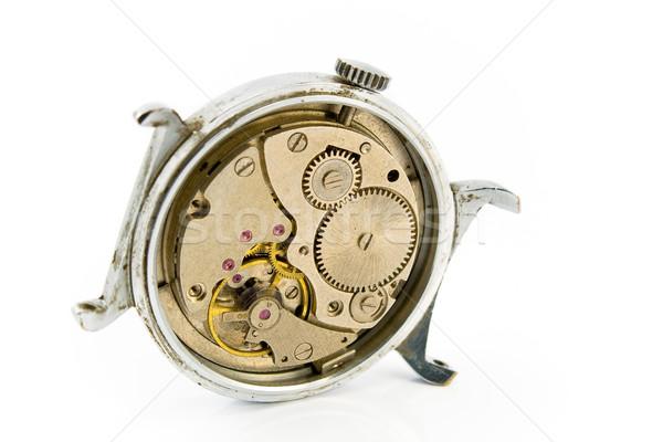 Velho mecanismo isolado branco relógio Foto stock © gavran333