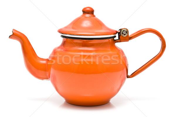 Velho vermelho rústico chá pote isolado Foto stock © gavran333