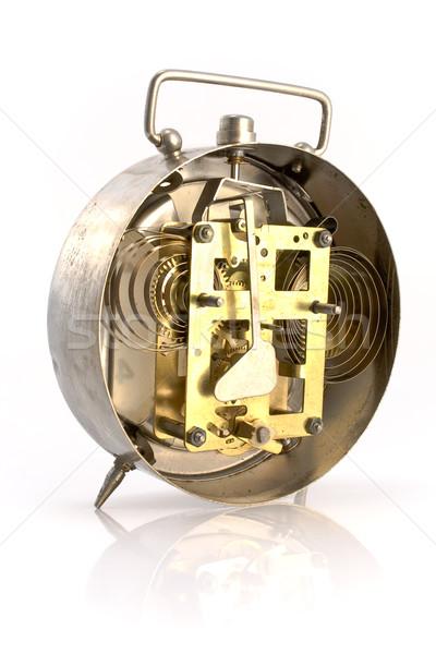 Içinde mekanizma eski çalar saat yalıtılmış beyaz Stok fotoğraf © gavran333