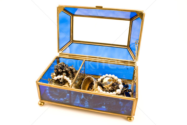 Blue glass jewelry box Stock photo © gavran333