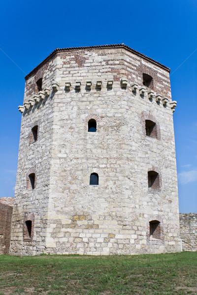 Vieux tour Belgrade forteresse ciel bleu bâtiment Photo stock © gavran333
