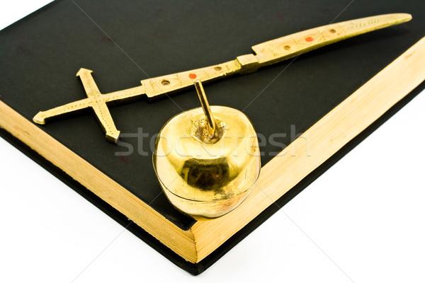 Golden Kreuz Apfel Bibel isoliert weiß Stock foto © gavran333