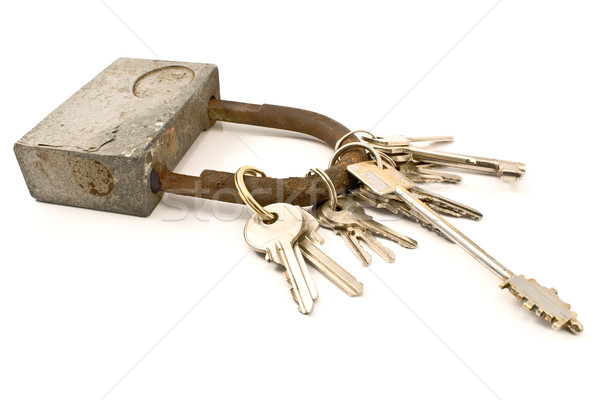 Padlock as keychain with several keys Stock photo © gavran333