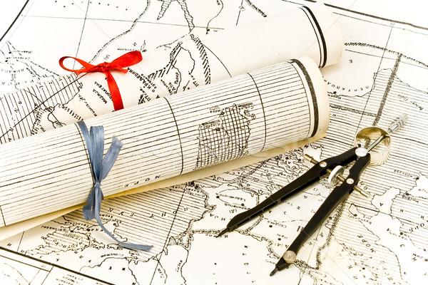 Karten Rollen Bänder Kompass Karte Kunst Stock foto © gavran333