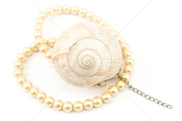 真珠 ネックレス スパイラル 孤立した 白 ストックフォト © gavran333