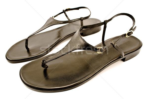 Fekete bőr cipő izolált fehér tengerpart Stock fotó © gavran333