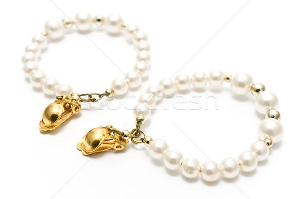 Stok fotoğraf: Inci · küpe · yalıtılmış · beyaz · altın · hediye