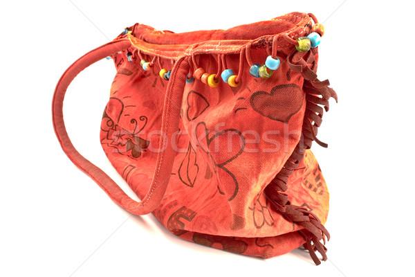 Rot Leinwand Tasche isoliert weiß Textur Stock foto © gavran333