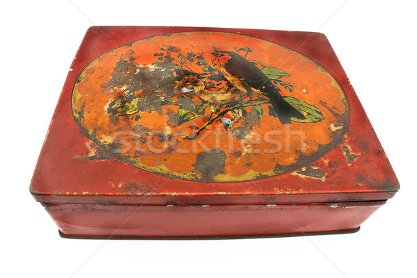 Rostigen rot tin Feld isoliert weiß Stock foto © gavran333