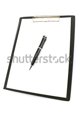 Schwarz Zwischenablage Stift Papier isoliert weiß Stock foto © gavran333