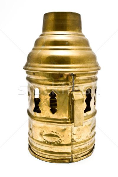 Décoratif lanterne laiton couvrir isolé blanche Photo stock © gavran333