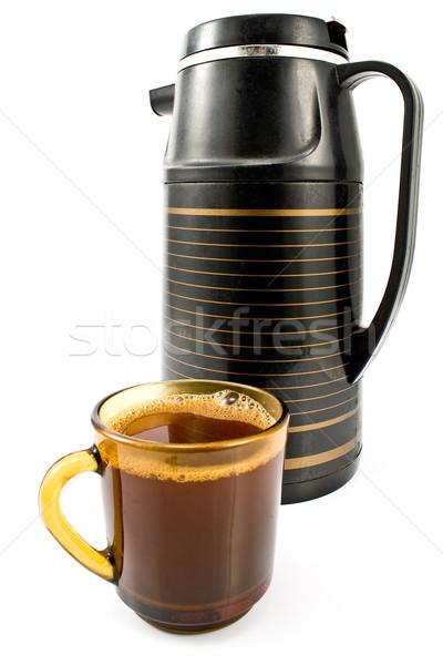 Tasse Kaffee schwarz isoliert weiß Metall Stock foto © gavran333