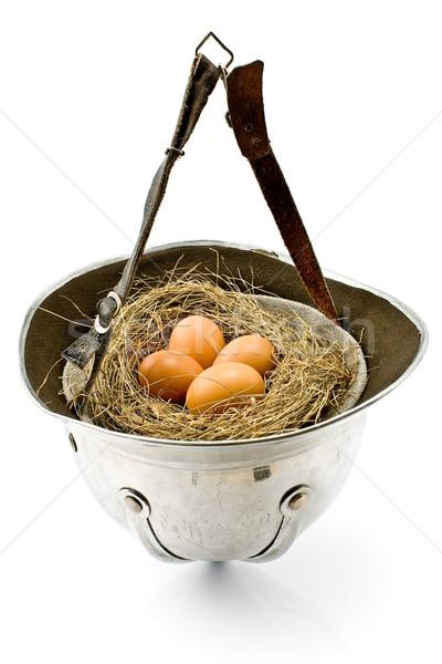 Yuva yumurta eski ordu kask yalıtılmış Stok fotoğraf © gavran333