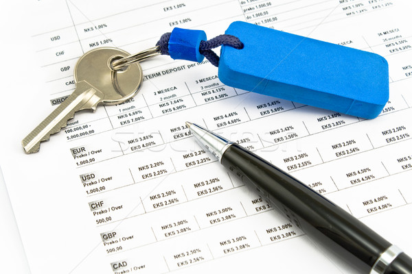 Pen, House key and Interest rates on bank loans Stock photo © gavran333