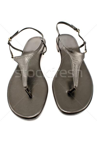 Noir cuir chaussures isolé blanche plage Photo stock © gavran333