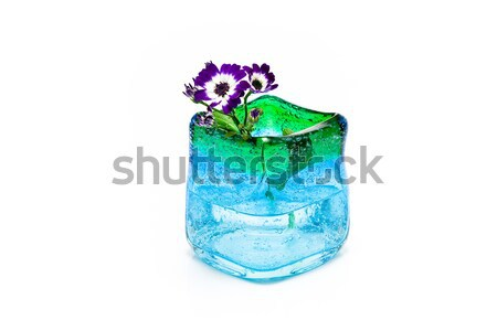 Flores azul vidro vaso isolado branco Foto stock © gavran333