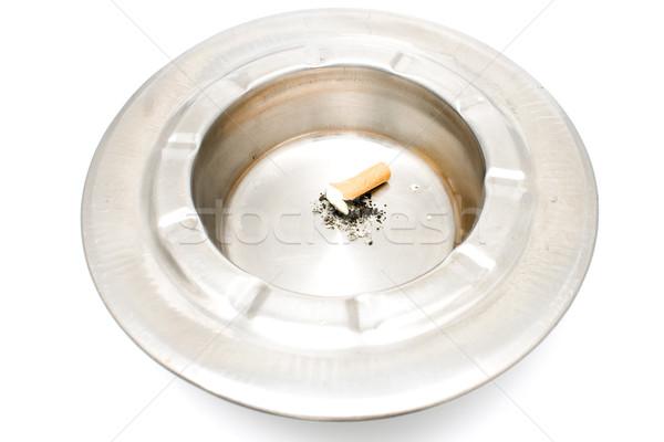 Cigaretta fenék fém hamutartó izolált fehér Stock fotó © gavran333