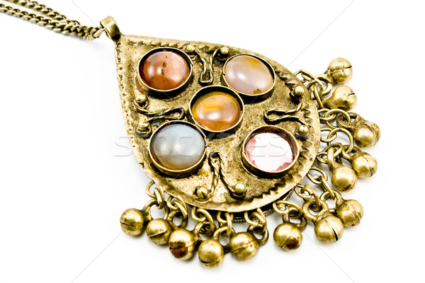 Photo stock: Antique · argent · collier · isolé · blanche